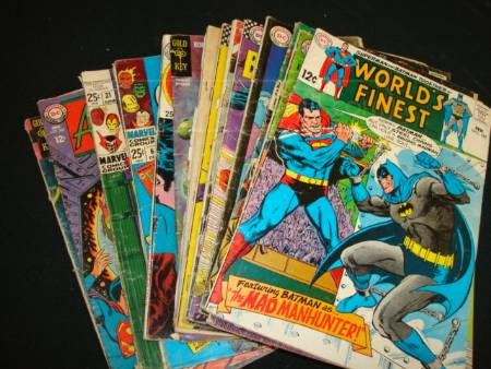 Comic book stacks with Batman. A collection of examples you could discuss whilst at the Comic Book Appreciation Club.